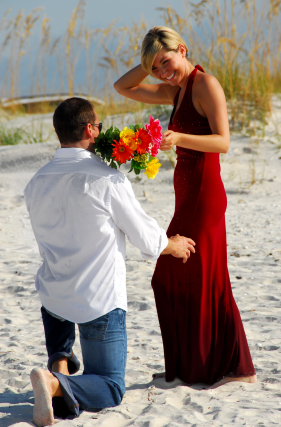 giving flowers, man propose