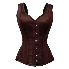 Brown Satin Style Corset with Shoulder Straps