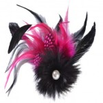 Fushia Pink & Black Feathered and Pearl Fascinator £12