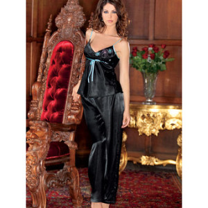 iCollection Sexy Chemise and Pyjama Nightwear Set  £22.99 Free delivery Beautiful nightwear that doubles as sexy lingerie. iCollection's 2-piece set includes a gorgeous chemise with silky satin ties and long satin trousers with a luxurious look and an utterly irresistible feel. A lovely gift for any special occasion.