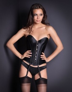 Classic Corset Was £185 Now £65 Traditional lace up black heavy weight satin corset with front fastening for easy access. Steel spiral boning moulds to your body creating the ultimate hourglass shape. Comes with detachable suspenders.