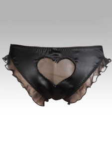 Sexy brief in pure silk satin with a flirty frlls and a cheeky mesh heart back trimed in swarovski crystals. Packaged in a luxury gift box. Also in Red. £45