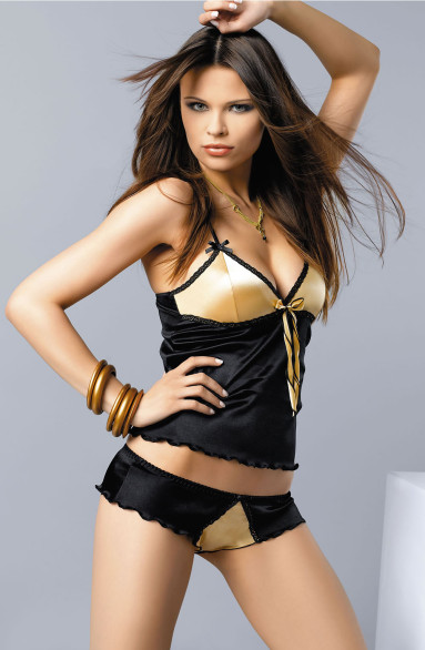 Black and gold cami lingerie