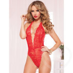 Sexy red lace teddy